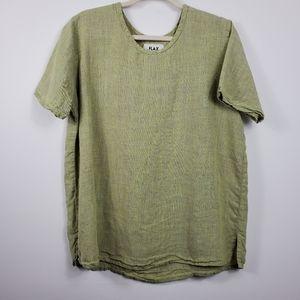 Vintage Flax Green 100% Linen Short Sleeve Top